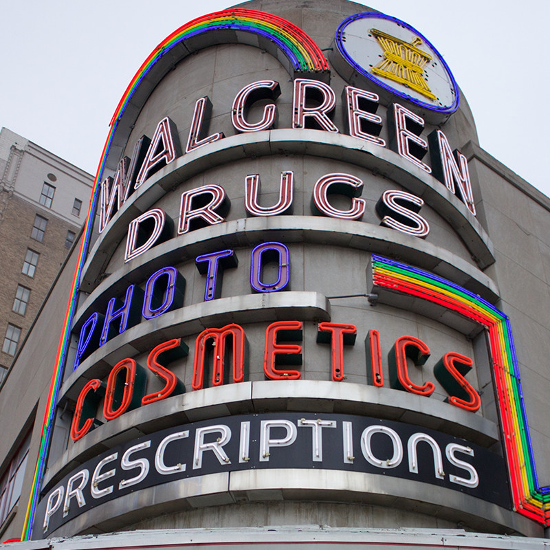 Storefront type and signage for Walgreen's on Canal Street in New Orleans.