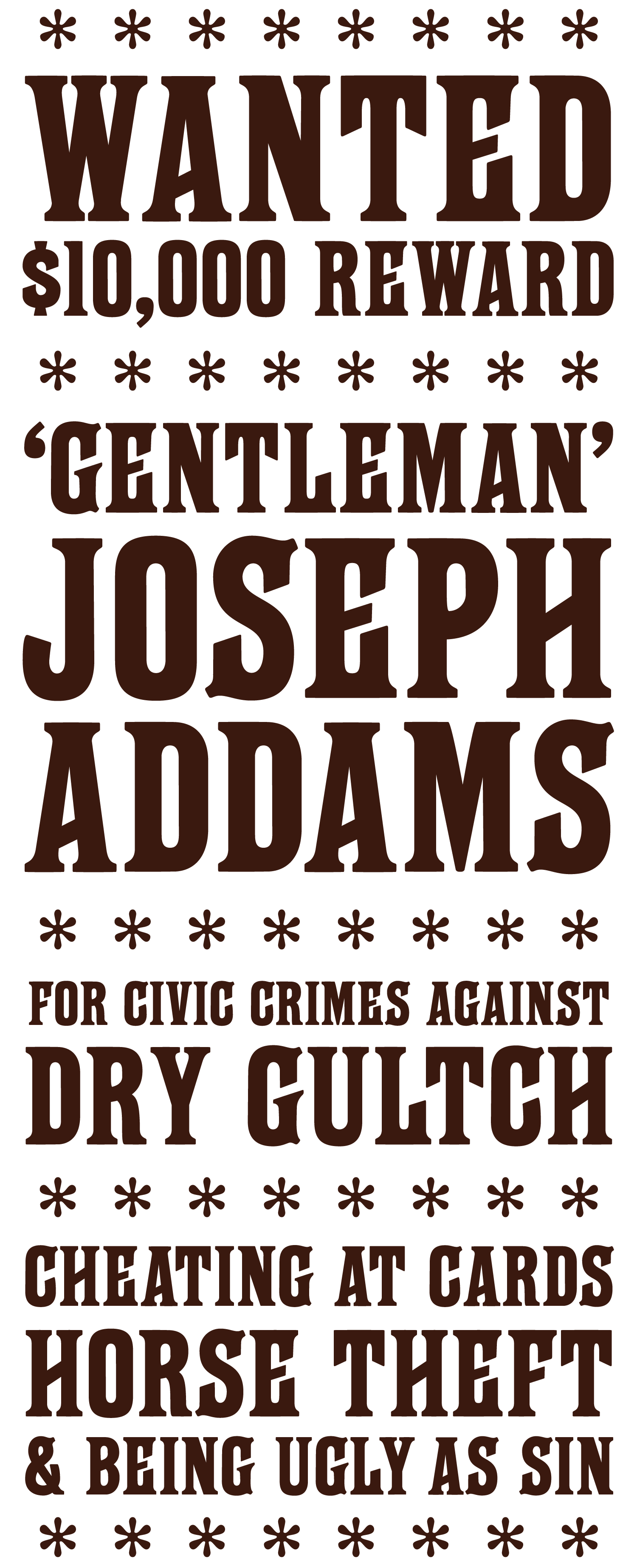 Western wanted poster set in Farringdon typeface